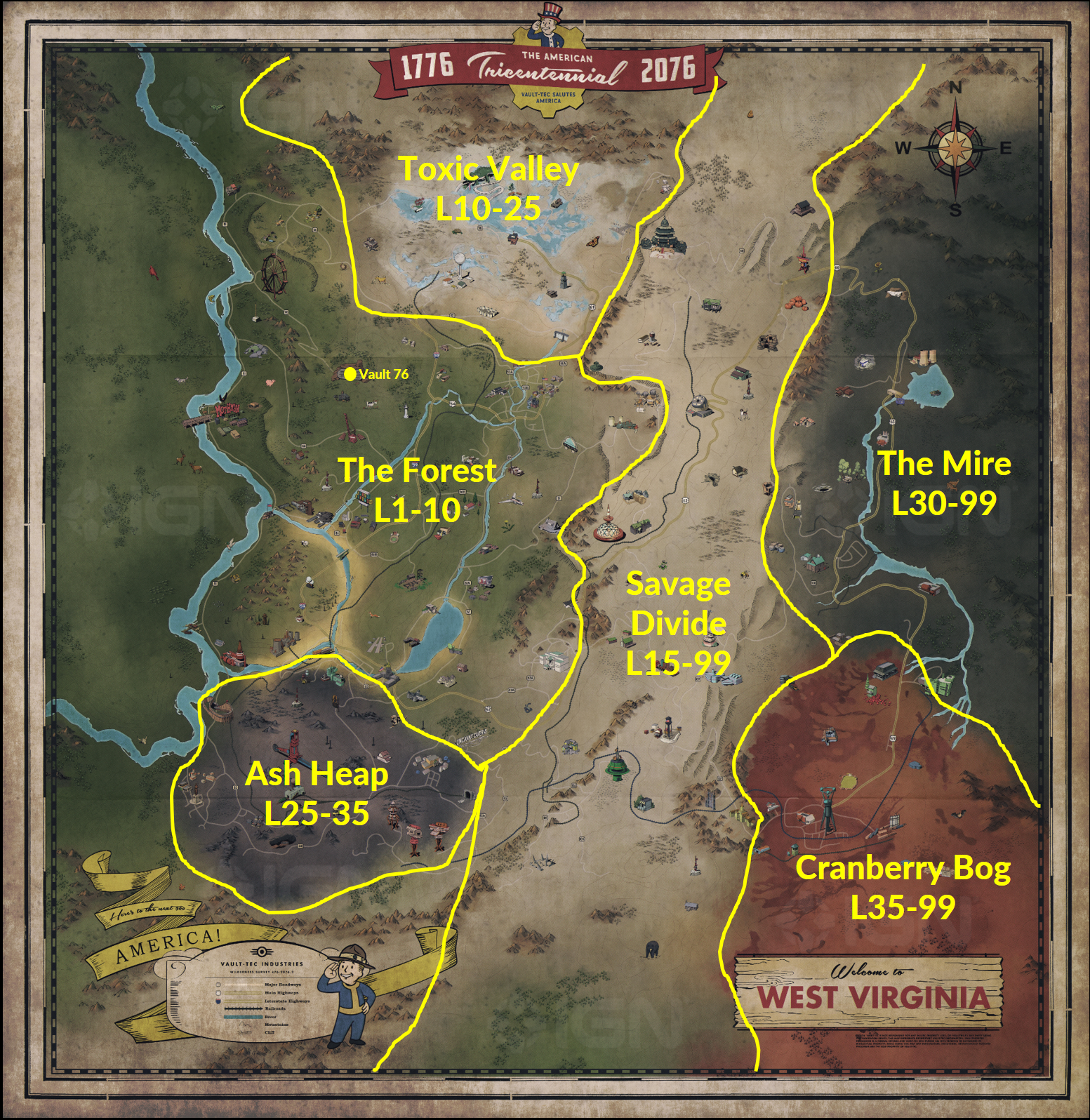 Fallout Level Range Map